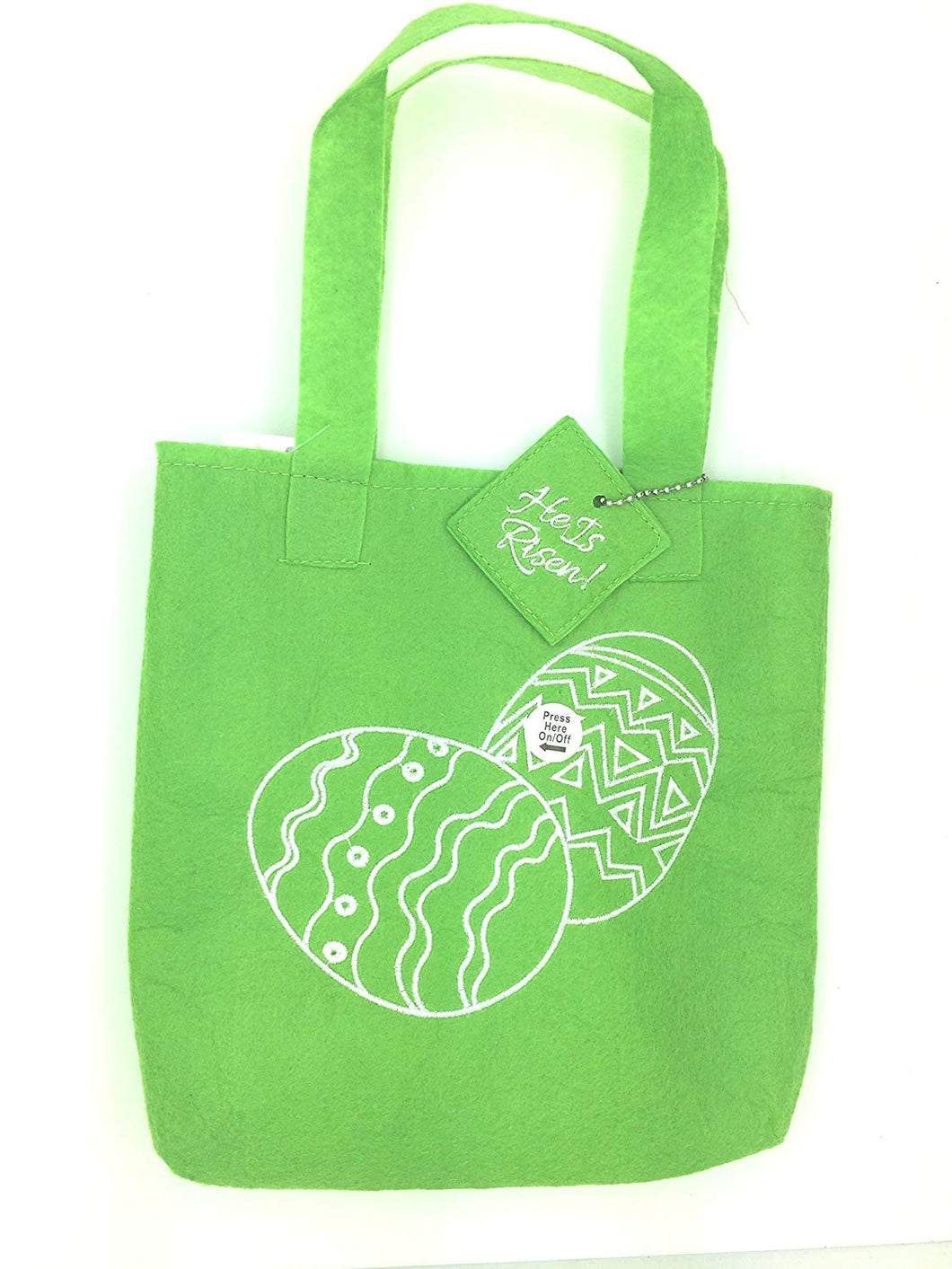 Christian Easter Fiber Optic Tote Gift Bag - Green Bag with Eggs design -