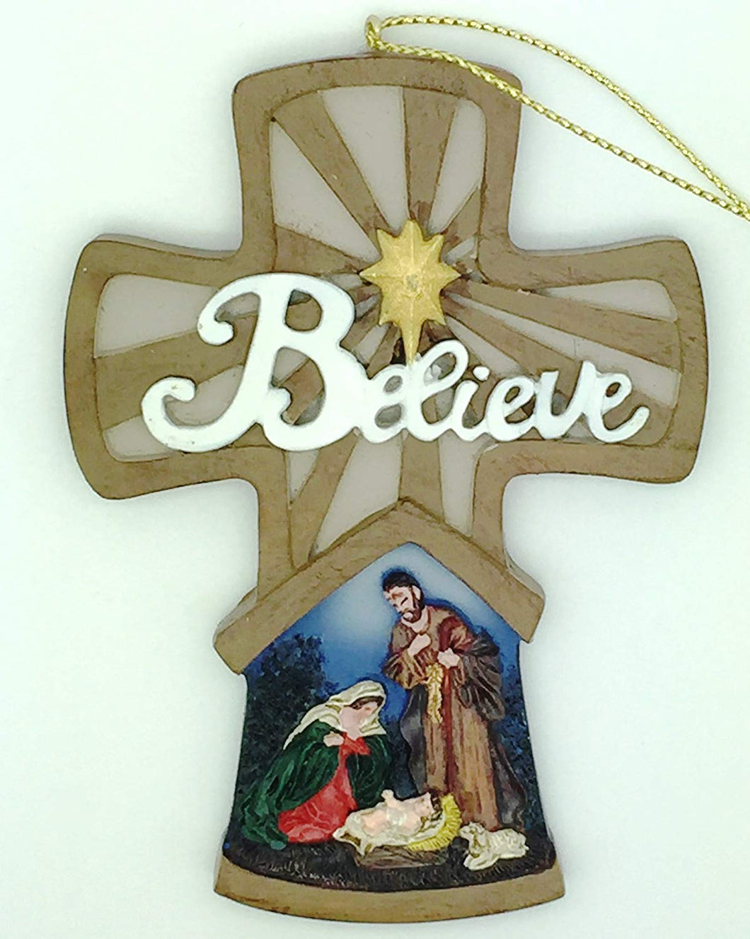 Christmas Cross Believe Nativity Painted Ornament