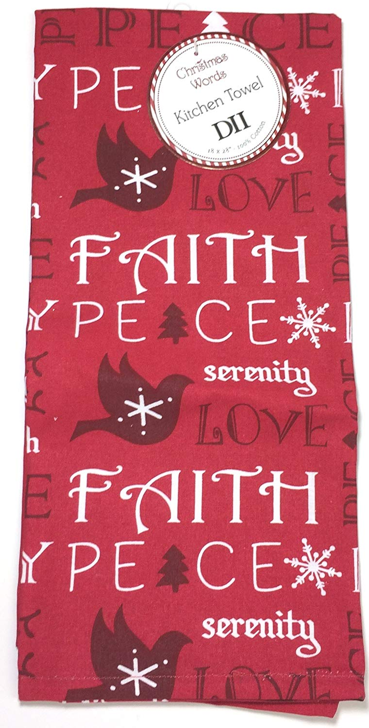 Christmas words - Serenity Peace Love Hope Faith Holiday Towel Gift