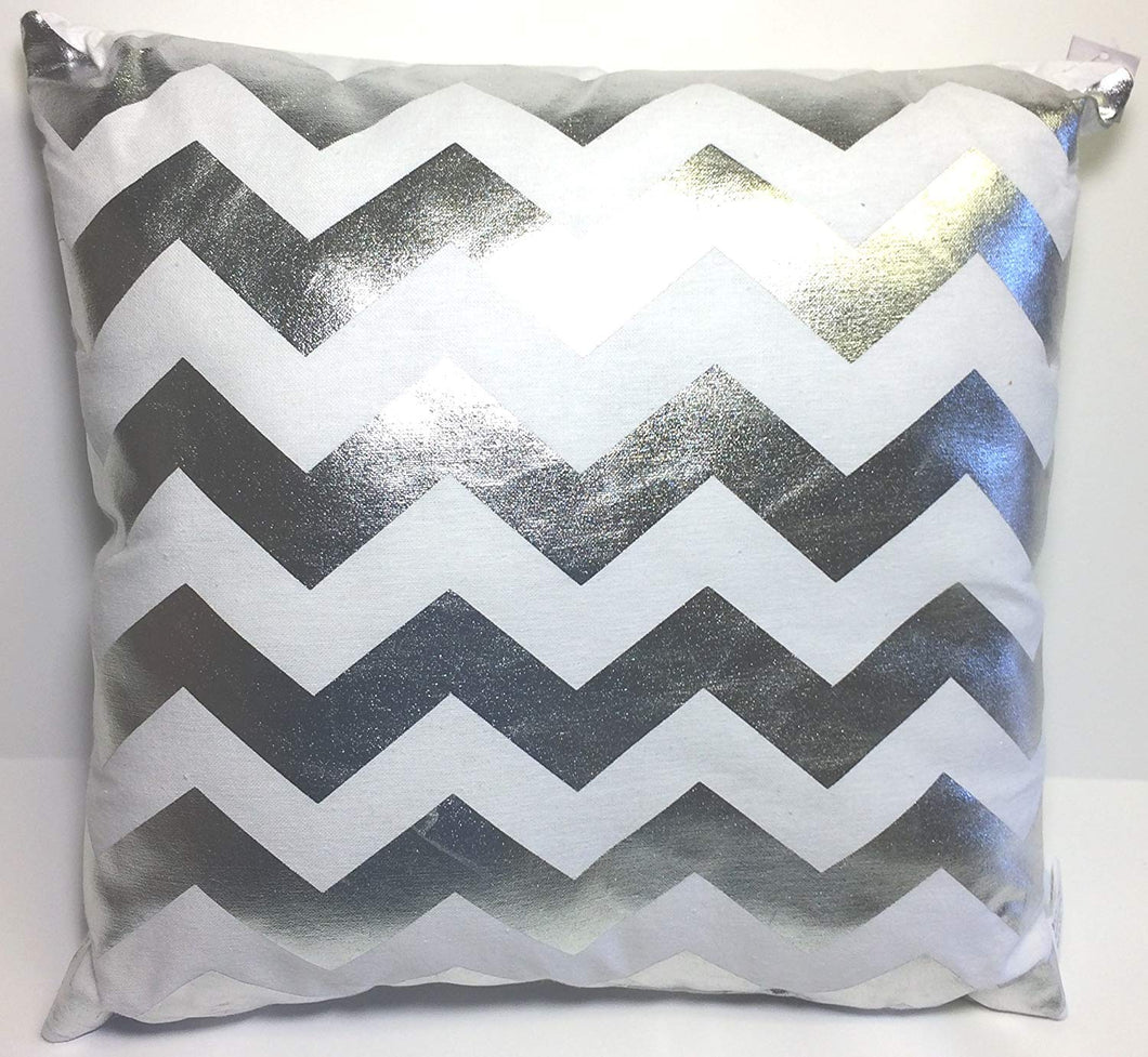 Gray Pillow with silver reflective zigzags