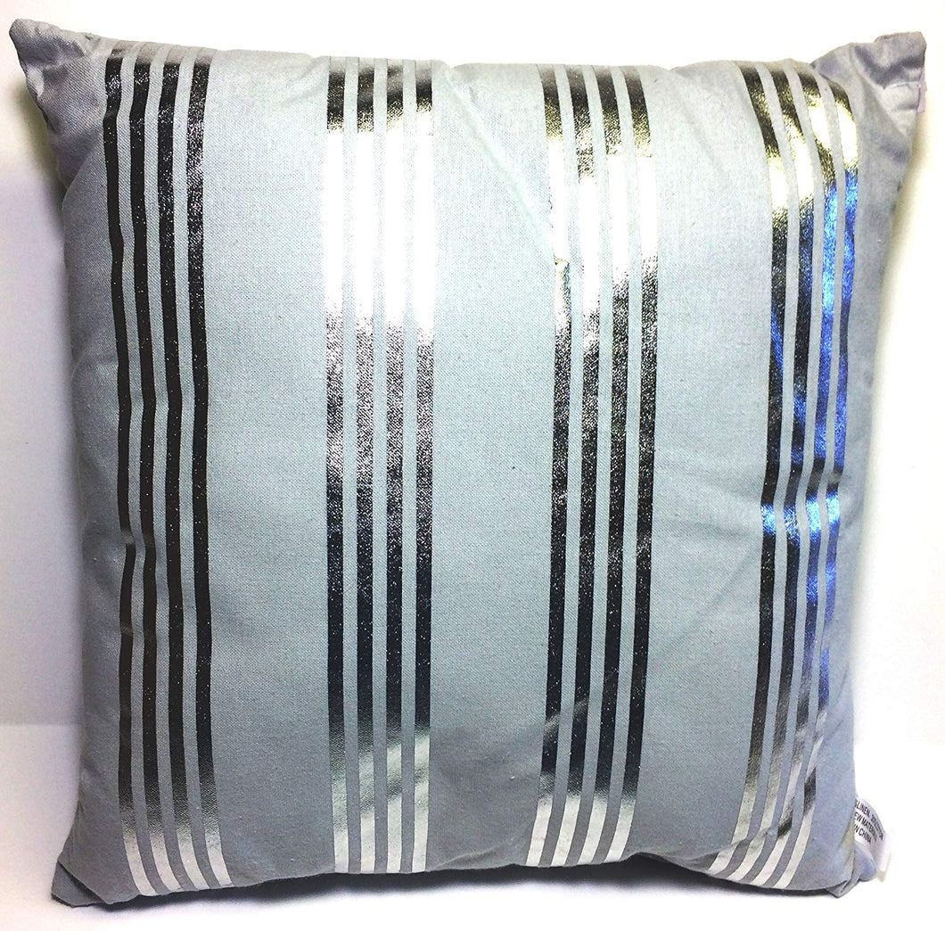 Gray Pillow with silver reflective stripes