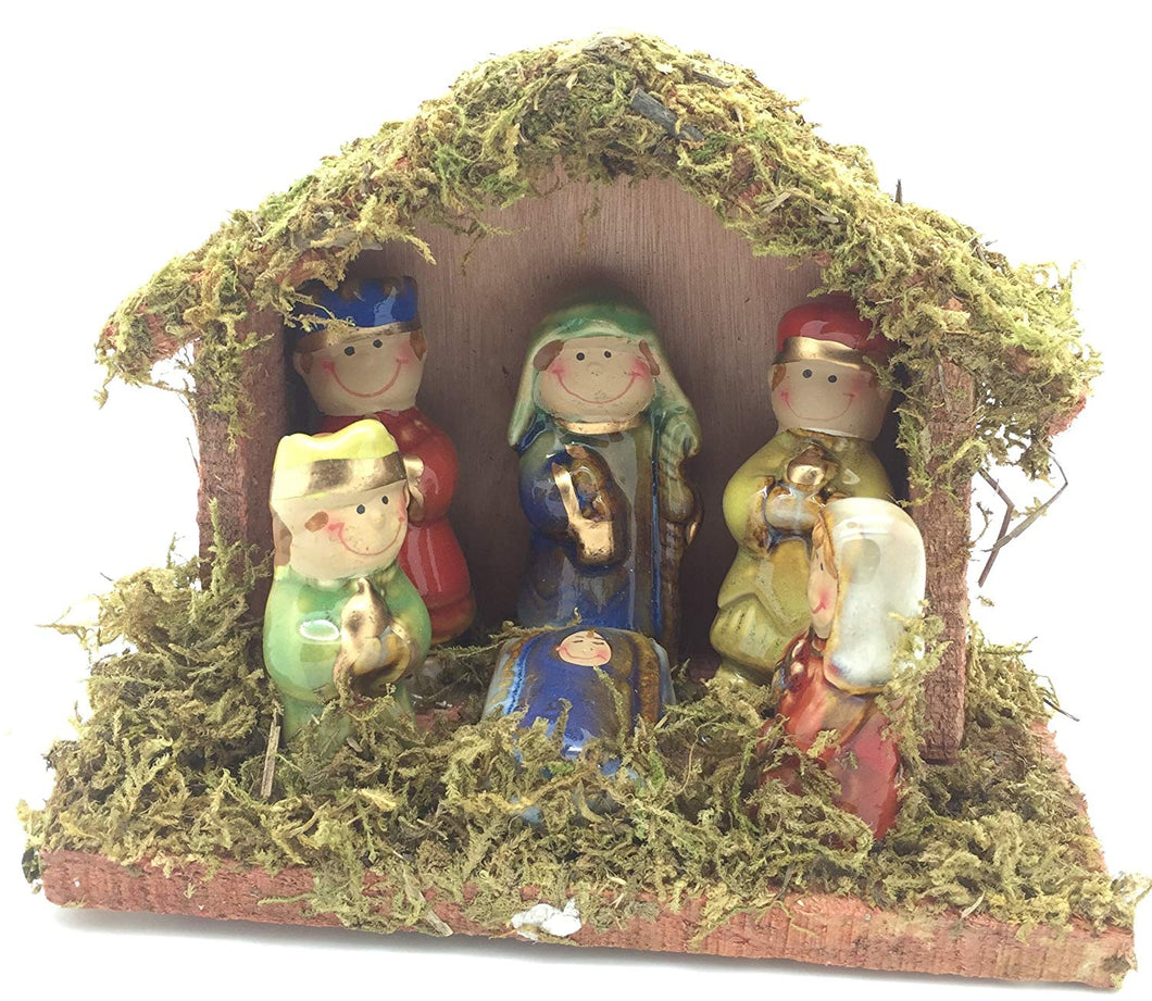 Christmas Nativity Scene 6 inch X 4.5 inch Wood, Ceramic and Grass