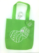 "Christian Easter Fiber Optic Tote Gift Bag - Green Bag with Eggs design - ""Happy Easter"""