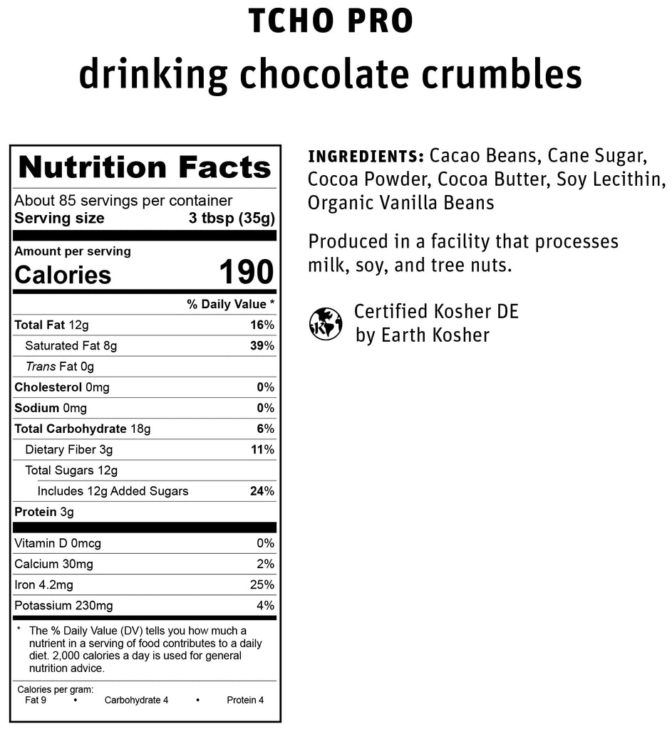 TCHO Pro Drinking Chocolate Crumbles Nutrifact
