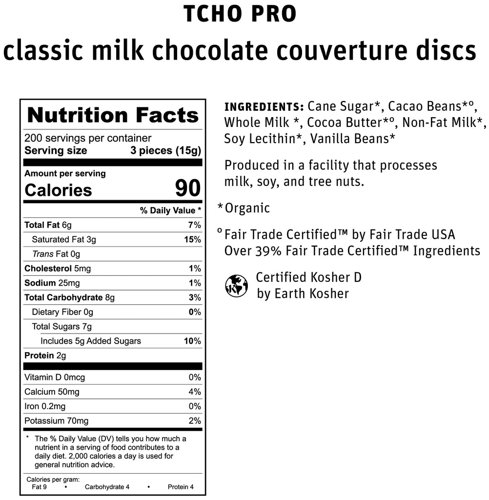 TCHO Pro 39% Classic Milk Chocolate Nutrifact