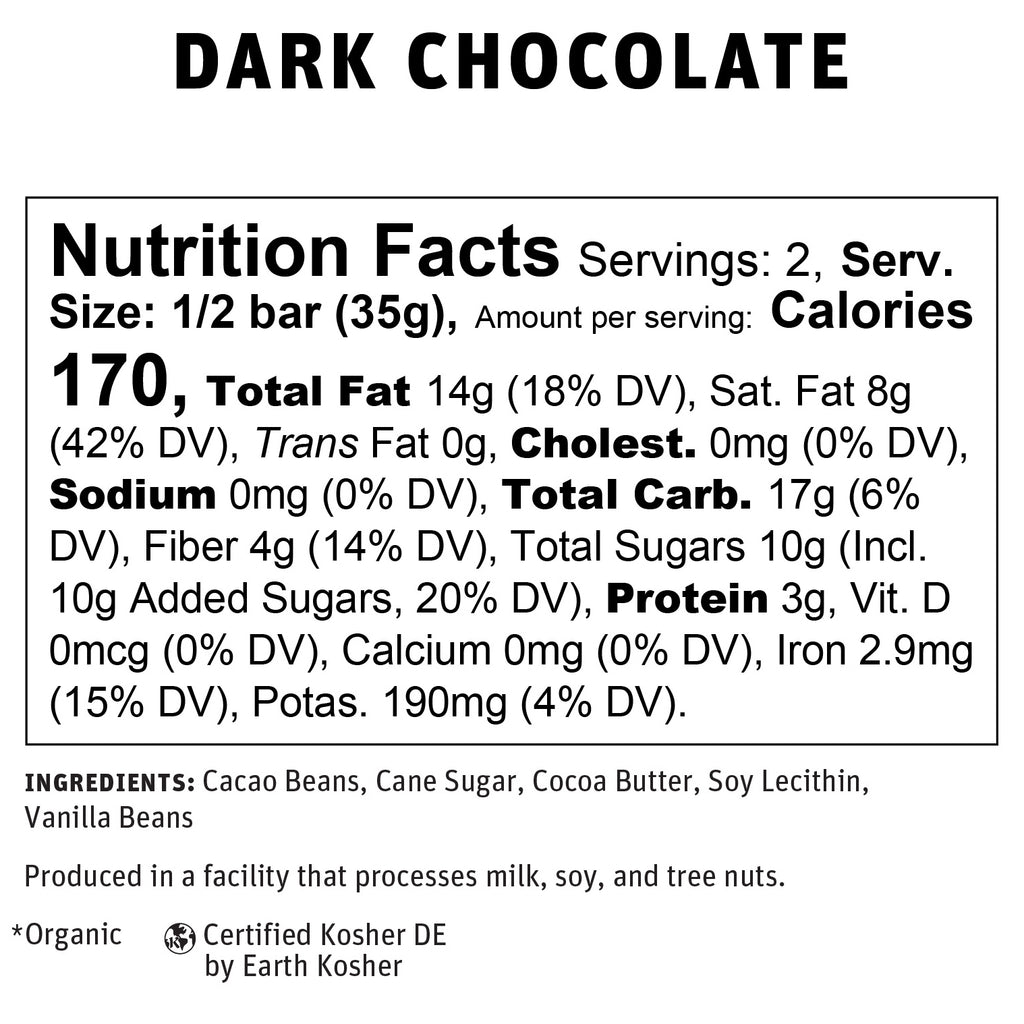 70% Dark Chocolate Nutritional Info