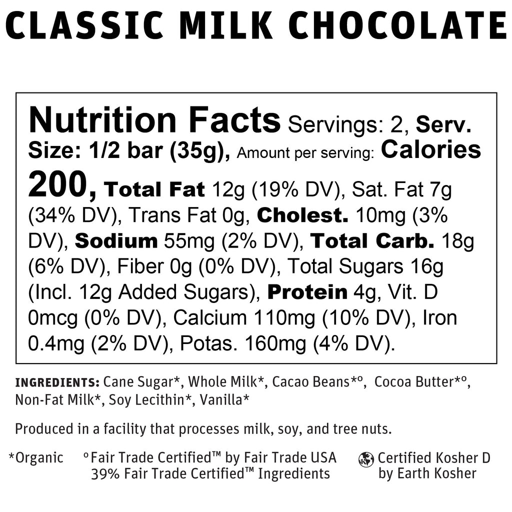 39% Classic Milk Chocolate Nutritional Info