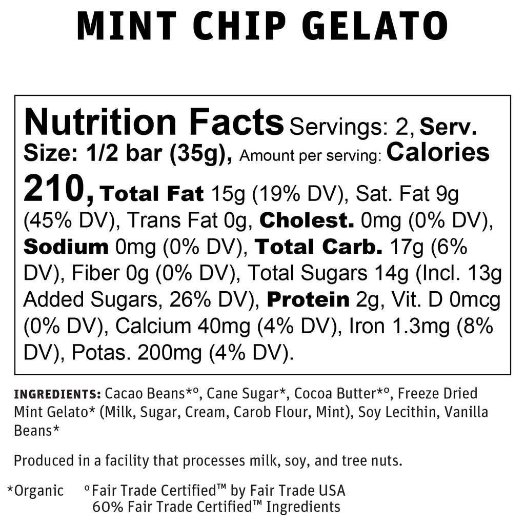 Mint Chip Gelato Nutritional Info