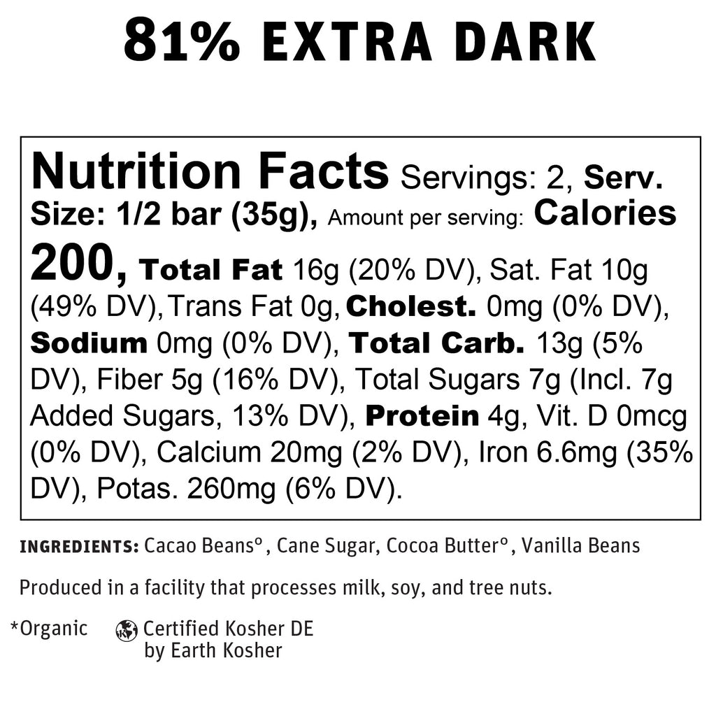 81% Extra Dark Chocolate Nutritional Info