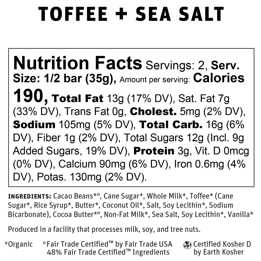 Toffee + Sea Salt Nutritional Info
