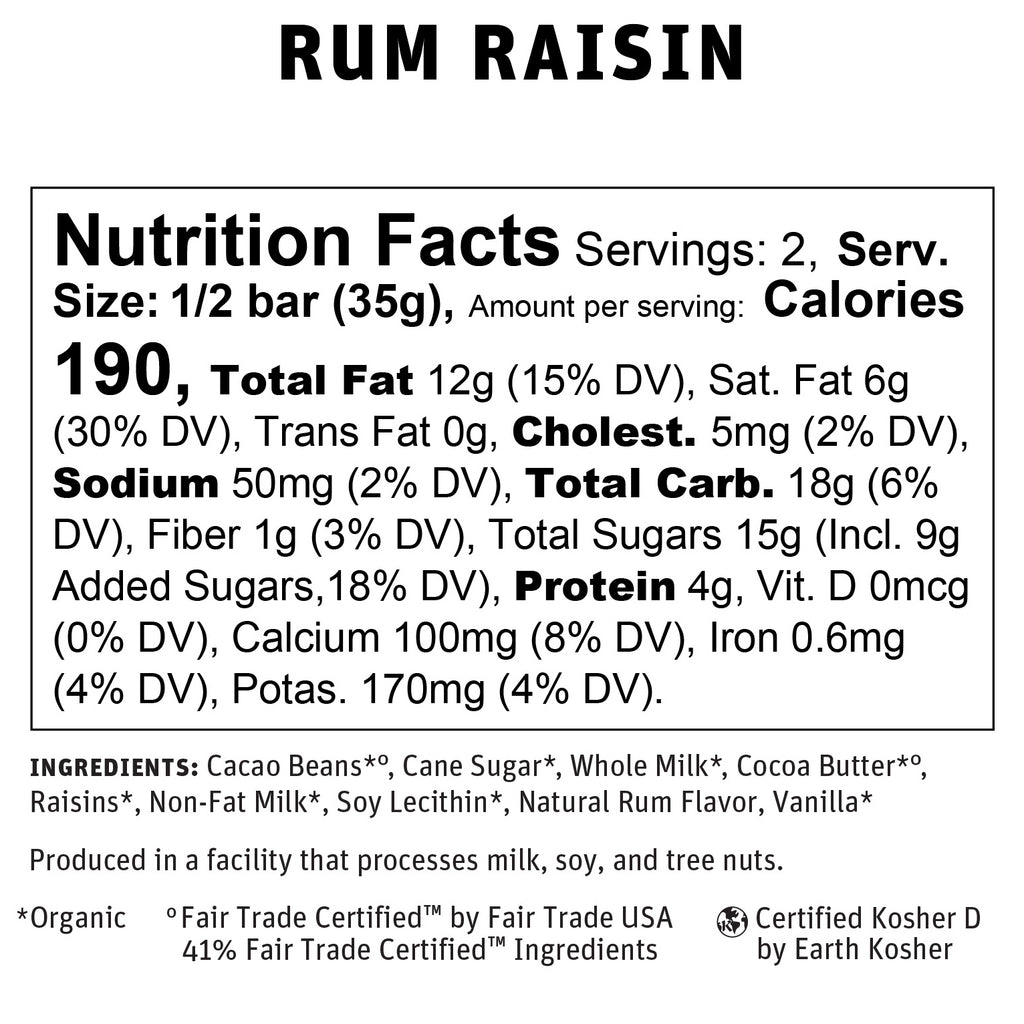 Rum Raisin Nutritional Info
