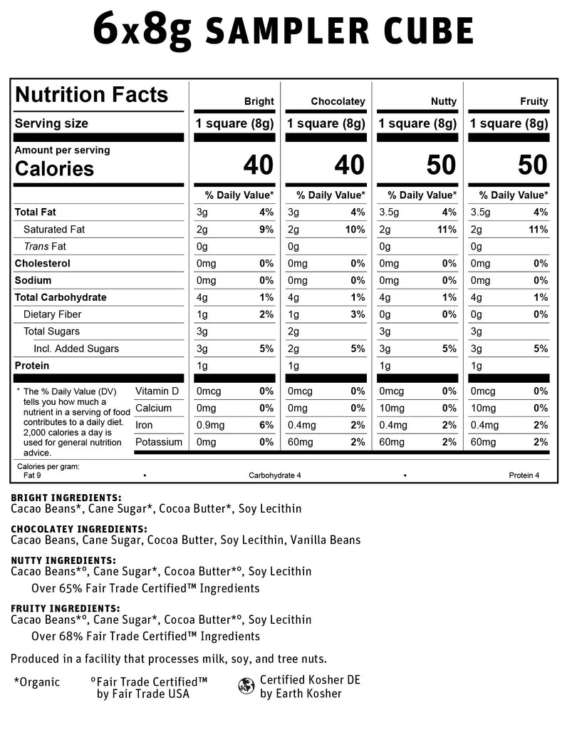 6x8g Cube Dark Chocolate Nutritional Info
