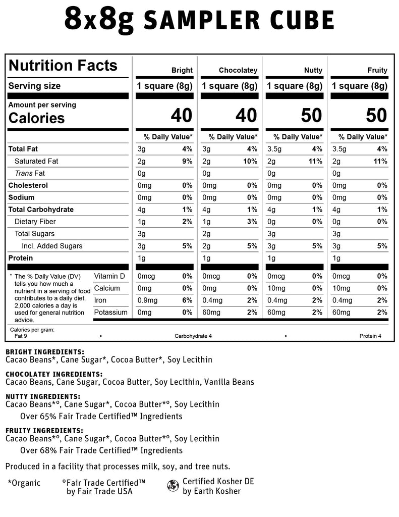 8x8g Sampler Dark Chocolate Nutritional Info