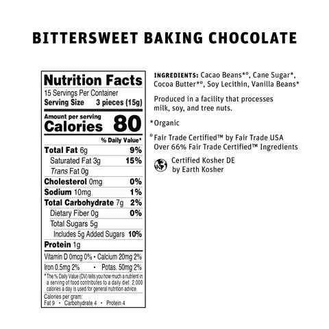66% Bittersweet Baking Chocolate Nutritional Info