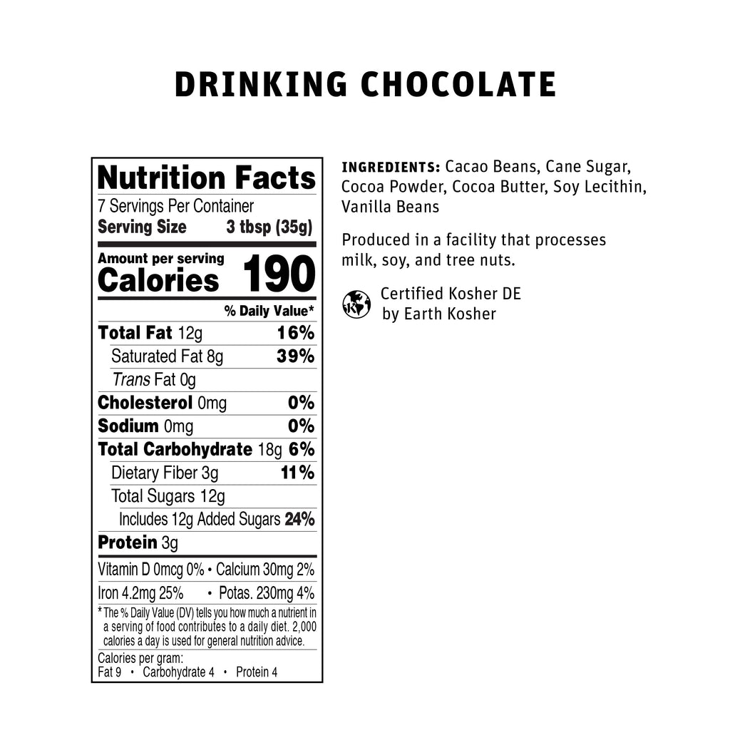Drinking Chocolate 250g Nutritional Info