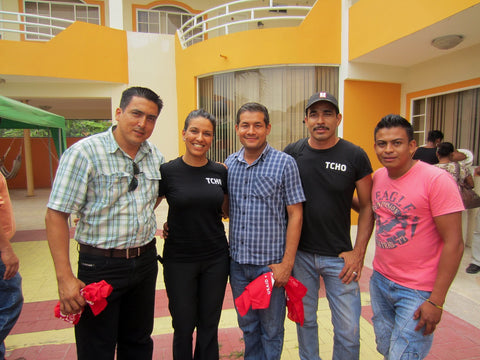 TCHO staff and UOPROCAE cooperative staff at the close out reception for Cooperative Development Program partners in Ecuador.  Pictured from Left to right: Julio Quiros - CDP Program Agronomist, Vina Verman - TCHO, Francisco Bienvenido Peñarrieta Peñarrieta - General Manager of UOPROCAE, Javier Enrique Valencia Castro - UOPROCAE, Luis Javier Meza Cabrera - UOPROCAE