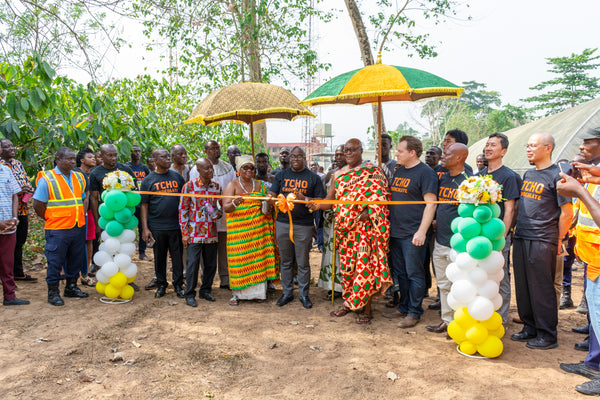 Launch of the project with our partners at CRIG at a Sod Cutting Ceremony with esteemed guests from CRIG, COCOBOD, The World Cocoa Foundation, leaders from the local Ashanti Tribe - the Chief of Tafo and the Queen Mother of Tafo.