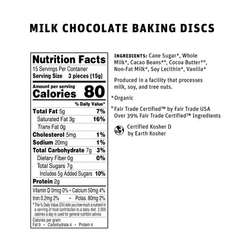 39% Milk Chocolate Baking Chocolate Nutritional Info