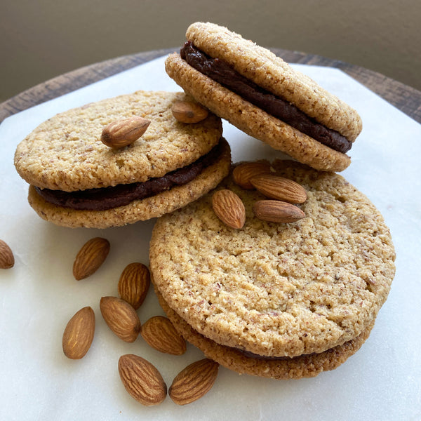 Almond Cookies with Caramelized Banana Ganache