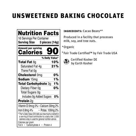 100% Unsweetened Baking Chocolate Nutritional Info