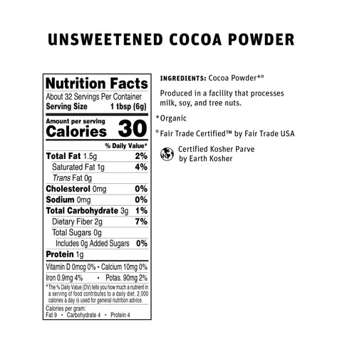 Cocoa Powder 190g Nutritional Info