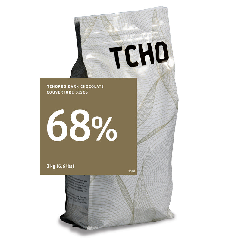 TCHO Pro 68% Dark Chocolate Discs 3kg Bag