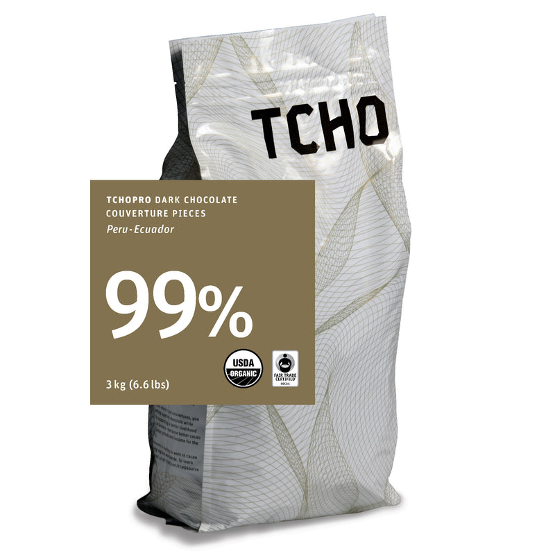 TCHO Pro 99% Unsweetened Dark Chocolate Discs 3kg Bag