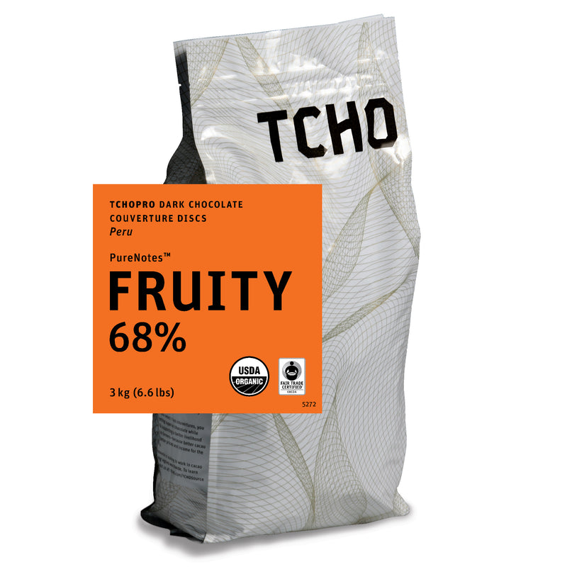 "TCHO Pro ""Fruity 68%"" Dark Chocolate Discs 3kg Bag"