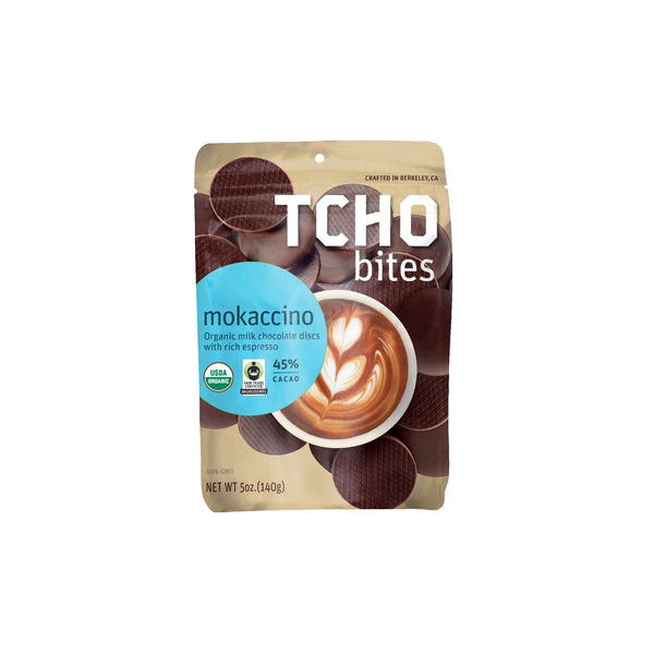 "TCHO Bites Milk Chocolate + Blue Bottle Coffee ""Mokaccino"" 5oz Bag"