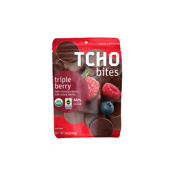 "TCHO Bites Dark Chocolate ""Triple Berry"" 5oz Bag"