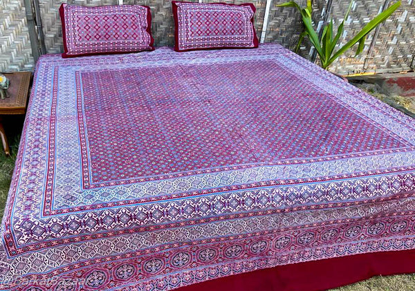 Pure Cotton Ajrakh Hand Block printed Double Bedsheets in King size