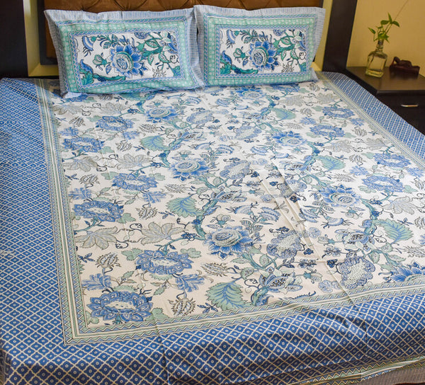Pure Cotton Hand Block printed Double Bedsheets in King size, Floral prints and elegant shades