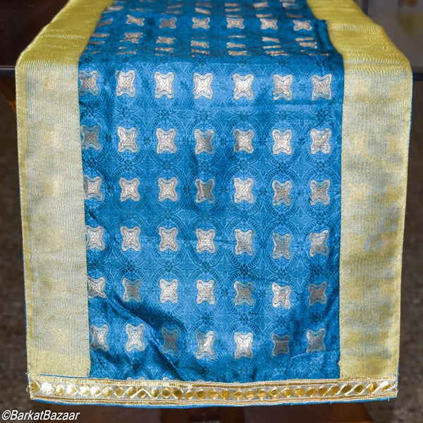 Blue & Gold Silk Dining Table Runner