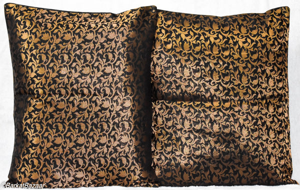 Black Gold Brocade, 16x16 IN Cushion Cover pair