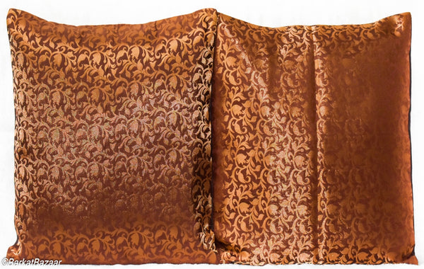 Brown Gold Brocade, 16x16 IN Cushion Cover pair