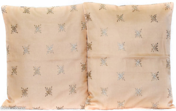 Beige Gold Organza Silk, 16x16 IN Cushion Cover pair