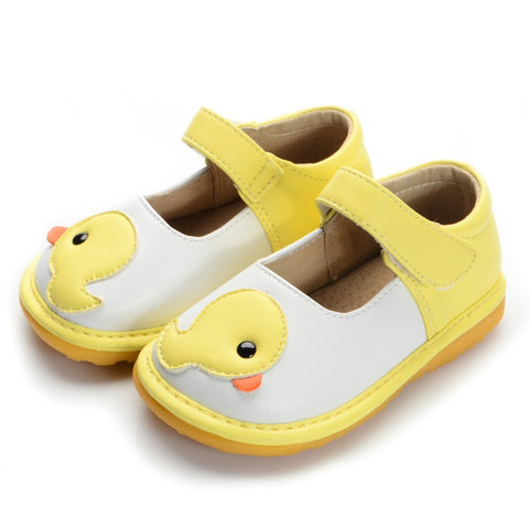 Yellow Duck Toddler Girl Squeaky Leather Casual Shoes - KISISA BABY SHOES
