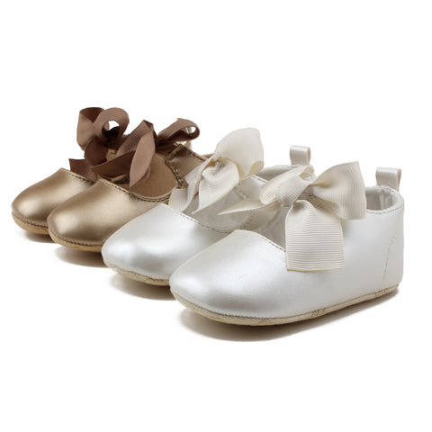 Classy Solid Baby Shoes Big Bow Christening Baptism