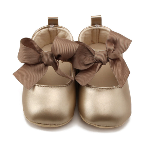 Classy Solid Baby Shoes Big Bow Christening Baptism - KISISA BABY SHOES