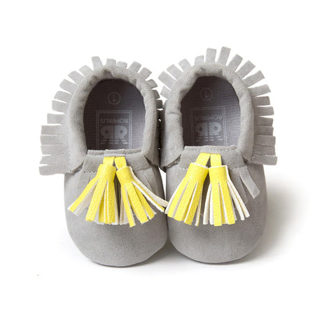 Fringed Suede Baby First Walkers Moccasins - KISISA BABY SHOES