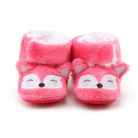 Lovely Pink Fox Warm Cotton Boots Baby Girl - KISISA BABY SHOES