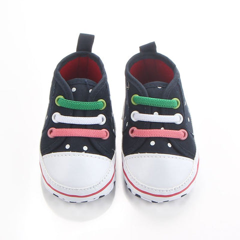Polka Dot Low Cut Design Soft Sole Baby Canvas Shoes