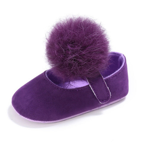 Newborn Baby Girls Shoes Sweet Cute Hair Ball Shoes - KISISA BABY SHOES