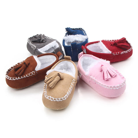 Cute Solid Plush Baby Moccasins