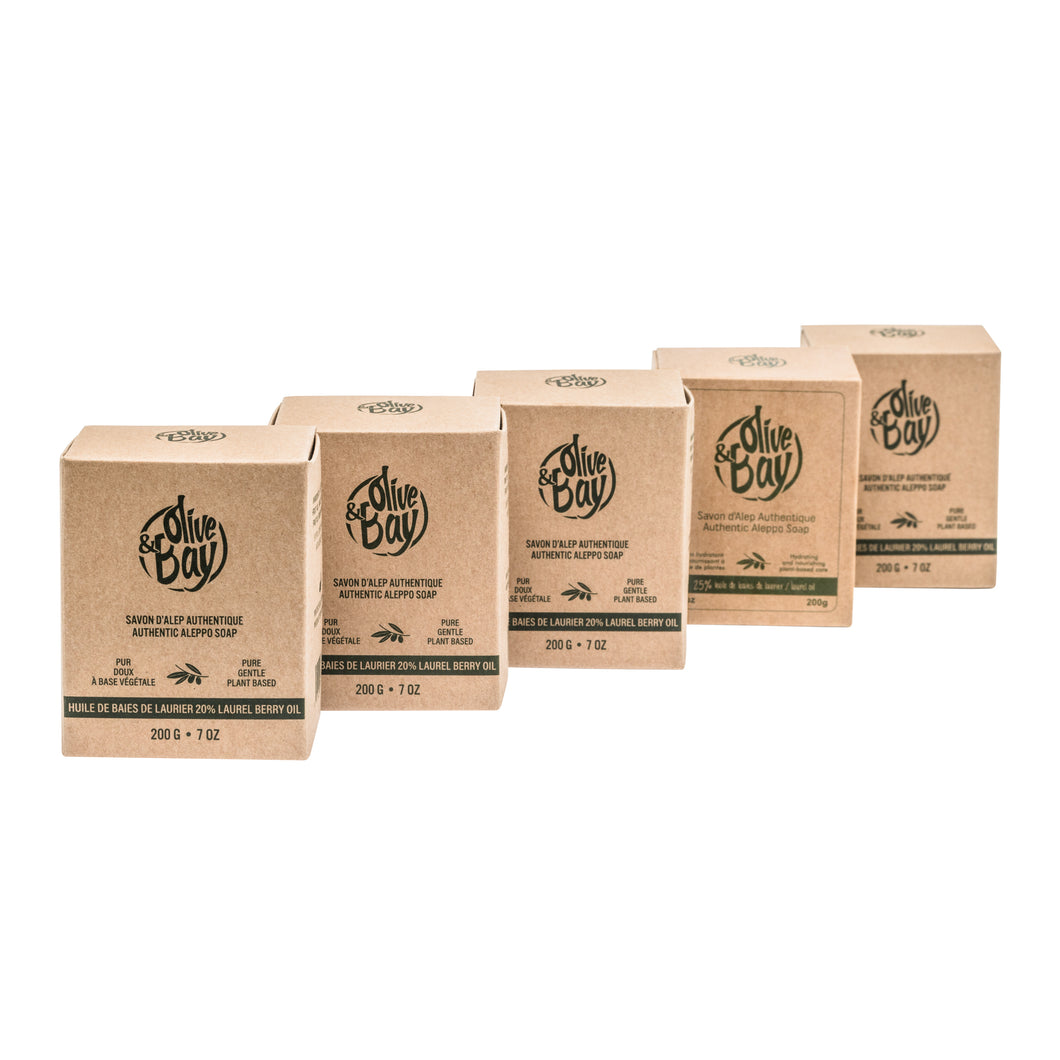 5 Pack - Aleppo Soap Bar - 20% Laurel Berry Fruit Oil - 200g
