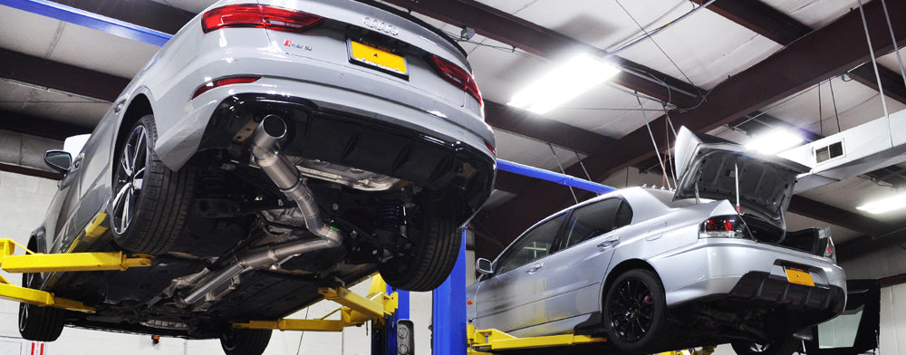 Audi RS3 titanium exhaust installed on the lift