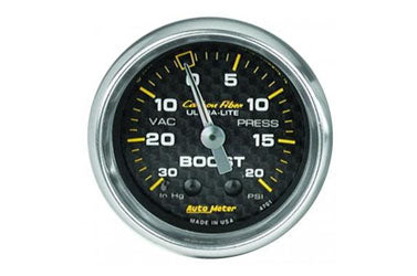 "Boost/Vacuum: -30 to 20 PSI - Carbon Fiber Mechanical Gauge (2 5/8"")"