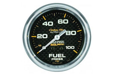 "Fuel Pressure: 0-100 PSI - Carbon Fiber Mechanical Gauge (2 5/8"")"