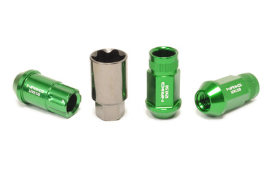 NRG Aluminum Open Ended Lug Nuts with Locks Green M12x1.5 (LN-LS700BL-21)