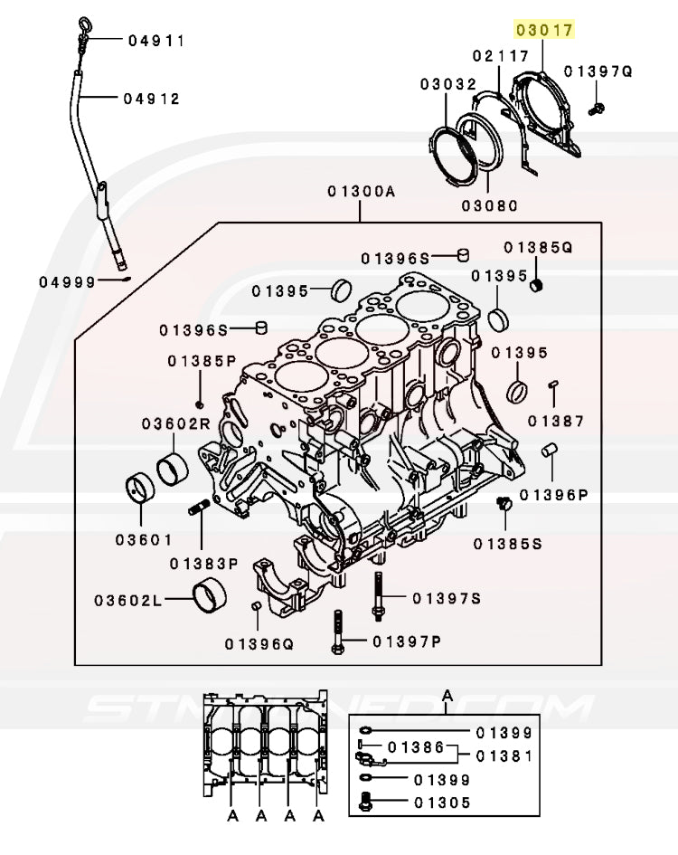 MD040330 OEM Mitsubishi DSM 6-Bolt 4G63 Rear Main Seal Housing